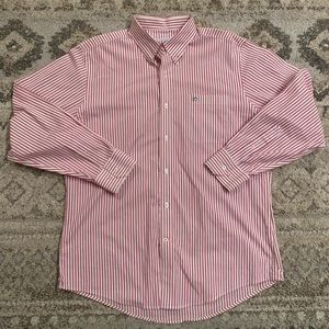 Southern Tide White Red Striped Button Down Large